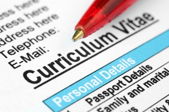 Close-up of Curriculum Vitae with pen
