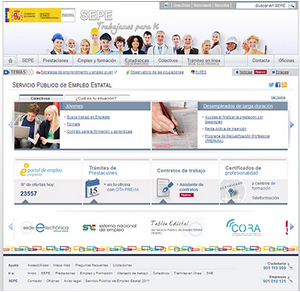 SEPE spanish website for jobs in shortage