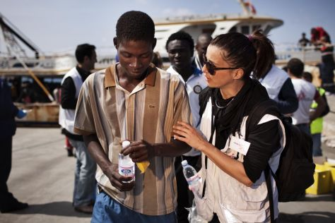 On April 19th 2011, 760 migrants have arrived from Libya after travelling for three days on an old fishing boat. Among the passengers, MSF counted seven children, 63 women; one of them pregnant. The majority of the migrants are originally from sub-Saharan Africa. This is the biggest boat landing ever occuring in Lampedusa. An MSF team consisting of a medical doctor, a nurse, two cultural mediators, a logistician and a field coordinator performs medical triage in the harbour and distributes non food items and water to the newly arrived migrants. Photo credits Mattia Insolera