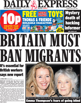 Headlines on UK Immigrants by express