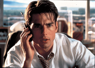 "Tom Cruise in the famous scene of the movie Jerry MCGuire, just about to shout ""show me the money"""
