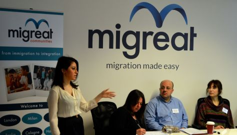 Reham, Arab Communities Manager at Migreat on the left - introducing the panel discussion